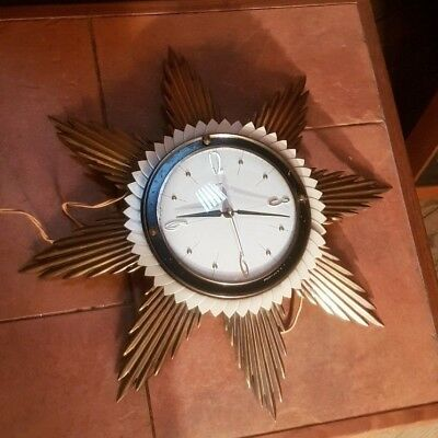 Metamec Sunburst Wall Clock Metal Rays 1960s working minor repair or parts