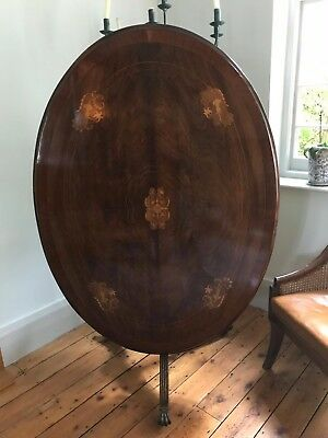 Oval Georgian mahogany tilt top inlaid dining table, top condition.