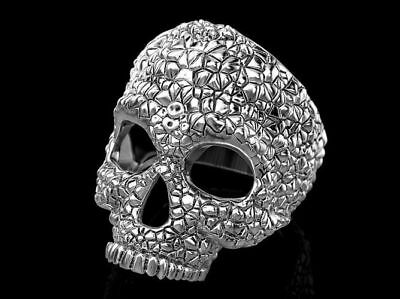 Heavy Gothic Skulls Men's Biker Punk Oxidized In 925 Sterling Silver Ring