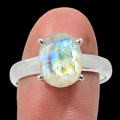 Faceted Rainbow Moonstone 925 Sterling Silver Ring Jewelry s.9 RR202565