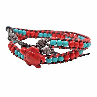 Timeless Ocean Sea Turtle Red Coral and Turquoise Double Wrap Bracelet