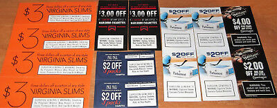 Lot Cigarette Coupons Marlboro Virginia Slims Pall Mall Parliament Copenhagen
