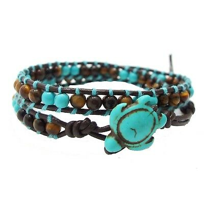 Timeless Ocean Sea Turtle Tiger's Eye and Turquoise Double Wrap Bracelet