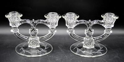 Pair of 2 Vintage Glass Double Candlestick Holders - Etched Base