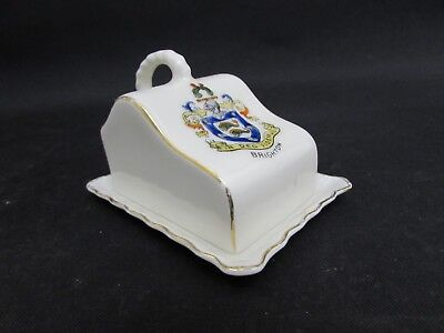 Vintage Gemma Crested Ware China Butter Dish, Crest For Brighton