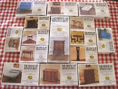 Lot Doll House Of Miniatures 15 Colonial Furniture Kits, Vintage New Old Stock