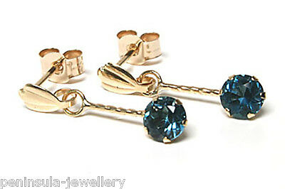9ct Gold London Blue Topaz round Drop earrings Gift Boxed Made in UK