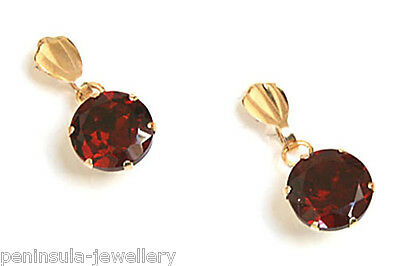 9ct Gold Garnet Drop Earrings Gift Boxed Made in UK Christmas Xmas Gift