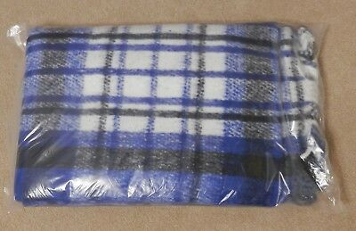 4532db2502 Blue Black White Plaid Hugger Mugger Recycled Baja Yoga Blanket 70 x 75 NIP
