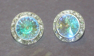 Rhinestone Earrings--Ab Crystals--Excellent