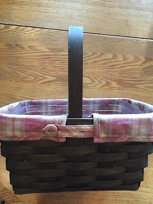 Longaberger 2008 Small Market Basket With Liner Divided Protector Dark Stain