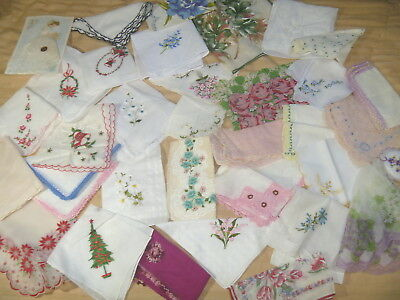 32 Ladies Hankies Christmas Lace Embroidered Print Mixed Handerchiefs Lot
