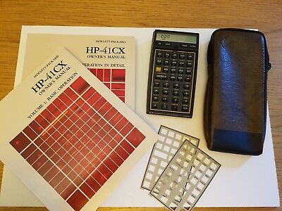 HP41 CX calculator with manuals, overlays and case