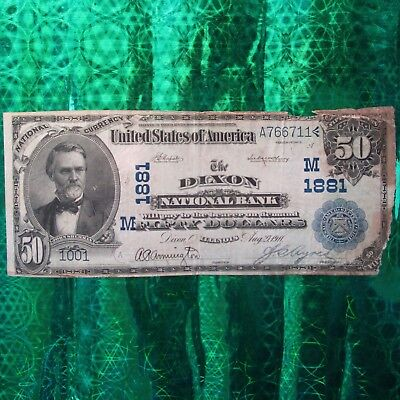 National Currency Dixon National Bank $50 Bill/Banknote ~ Series 1902 Dixon, Ill