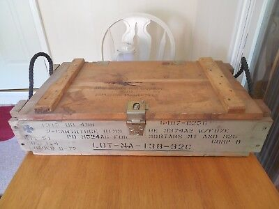 Us Army 81Mm Wooden Cannon Ammunition Ammo Crate Wood Box