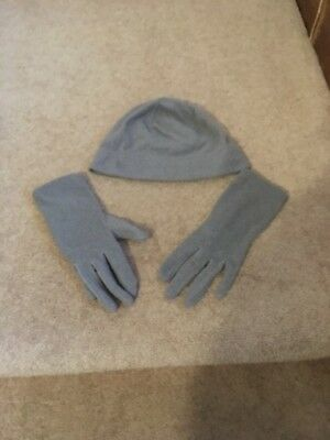 Lands End Grey Thermacheck hat, scarf and gloves set,  Used, soft