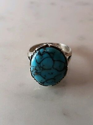 Sterling Silver Women's Ring Unknown Turquoise Stone Vintage Estate Find