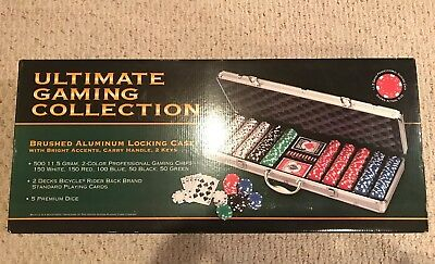Poker Chip Set 500 Chips 5 Dice 2 Decks Of Cards w/ Silver Aluminum Case  New