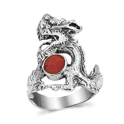 Mighty Fire Dragon Red Coral .925 Silver Ring-9