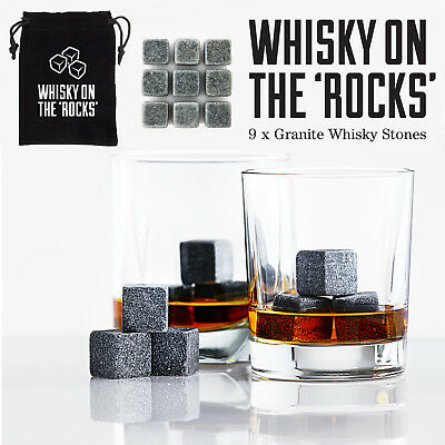 9 PCS Reusable Granite Whiskey Ice Stones Cooler Cubes Scotch Whisky Rocks Pouch