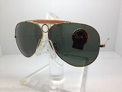 20939f41592 RAY BAN SHOOTER RB3138 181 62 Gold Frame   Green Classic G-15 Lenses ...