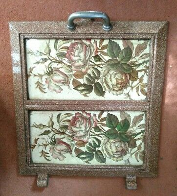 Beautifully Tiled Antique Vintage French Log Burner Oven Door Enamel Cast Iron