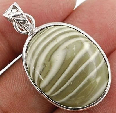"""Striped Flint Ohio 925 Solid Sterling Silver Pendant Jewelry 1 1/2"""" Long H4-9"""
