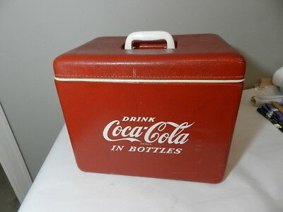 VINTAGE 1950's  COCA-COLA COOLER- RARE ROYAL MIECO CO. LEATHERETTE MODEL-PIC-NIC