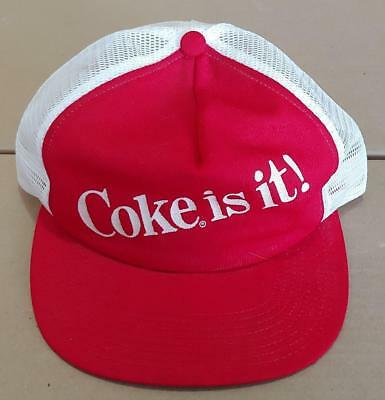 Vtg COKE IS IT Snapback Trucker Mesh Hat Cap COCA COLA Made in USA