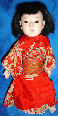 Antique Japanese Ichimatsu Doll with Furisode Kimono - Glass Eyes!