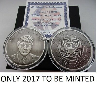 Donald Trump 1 Oz .999 Silver Coin *antique Presidential Seal Potus # Cert-Boxed