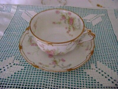 Haviland Limoges Double Gold Small Pink Roses Cup and Saucer Schleiger  57N #4