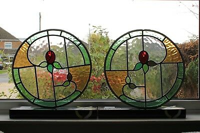 Two Vintage Round Stained Glass Leaded Port Hole Windows