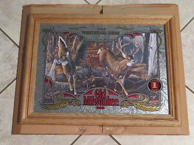 Old Milwaukee Beer Wildlife Mirror Sign 10 pt Buck White-tailed Deer Hunting NEW