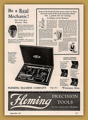1927 Ad Fleming Precision Tools Calipers Gauges Boxed Sets