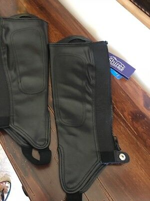 SHIRES ADULTS SYNTHETIC LEATHER GAITERS BLACK SIZE M riding easy clean chaps NWT
