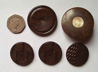Lot of 5 large vintage art deco brown bakelite & mother of pearl coat buttons