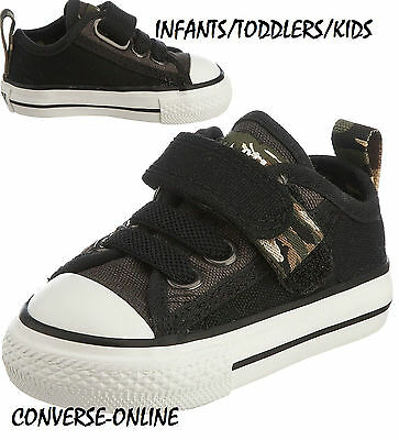 Baby Boy's Girls CONVERSE All Star BLACK VELCRO SLIP ON Trainers Shoes SIZE UK 2