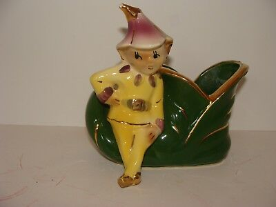 Shawnee Pottery Vintage Pixie Elf Sitting on Elf Boot Planter/Vase