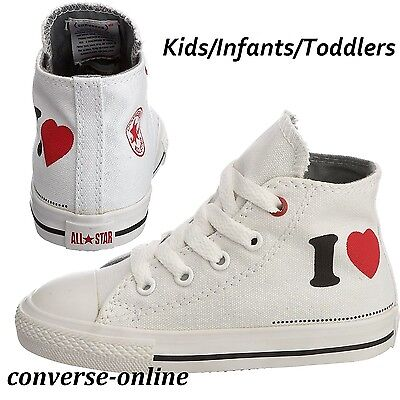 BABIES Boy's Girls CONVERSE All Star I LOVE HIGH TOP Trainers Boots 19 SIZE UK 3