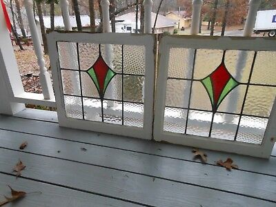 LA-147 Lovely Older Leaded Stained Glass Window From England   Two Available