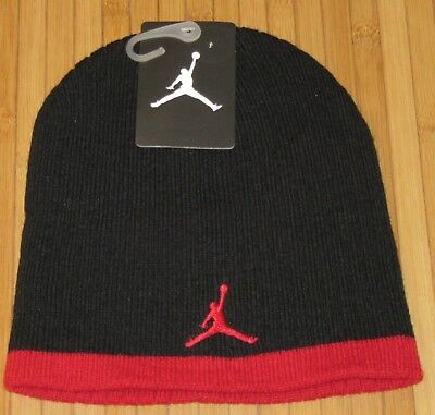 b2dd5434384 New Jordan Jumpman Youth Boys Knit Beanie Skull Hat 8 20 Black Red MSRP