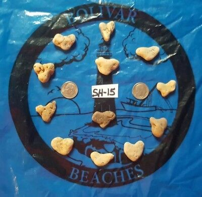 12 SMALL Natural Heart Shaped Beach Rock/Stones~ Crafts, Jewelry (Lot SH-15)