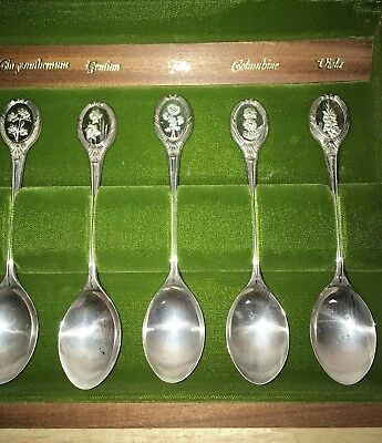 Sterling England J. Pinches Ltd ROYAL HORTICULTURAL SOCIETY 12PC FLOWER SPOONS