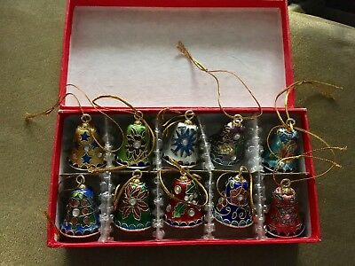 Christmas Cloisonne Bell Ornaments - Set of 10