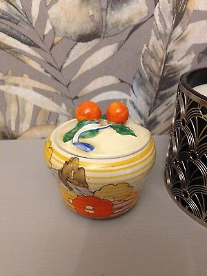 Clarice Cliff Bizarre Hand Painted Small Preserve Pot