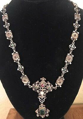 Atq Austro-Hungarian Medieval Renaissance Seed Pearl Reversible Jewelry Necklace