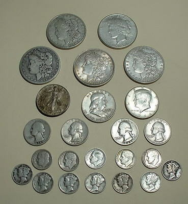 Lot Of 24 US Silver Coins  All Pre 1965 - dollars - halves - quarters - dimes