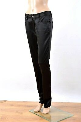 """GAS """"BRITTY"""" Lady JEANS trouser pants  W27 UK10 shiny Sateen Black Very Good FAB"""