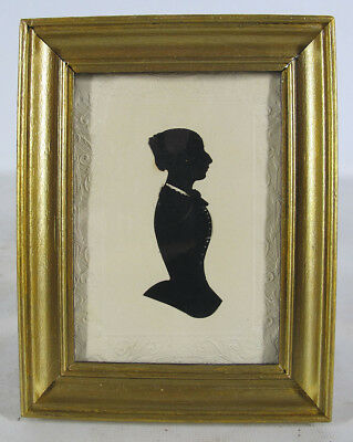 Antique c 1830 Cut Paste Silhouette Lady Profile Right Folk Art Portrait 11 yqz